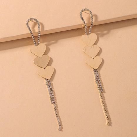 diamond heart long tassel earrings NHNJ316560's discount tags