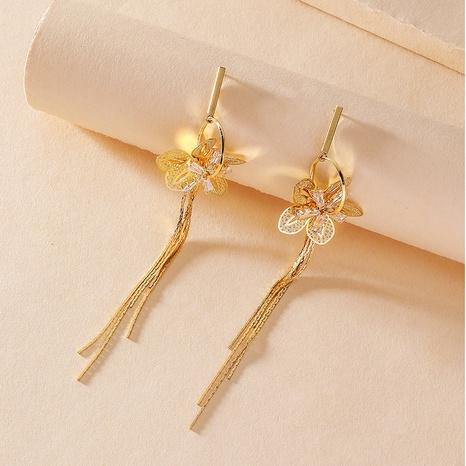 zircon hollow five-petal long tassel earrings NHNJ316562's discount tags