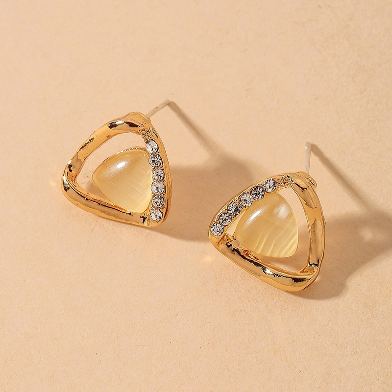 Triangle Opal Diamond Geometric Retro Earrings NHNJ316565