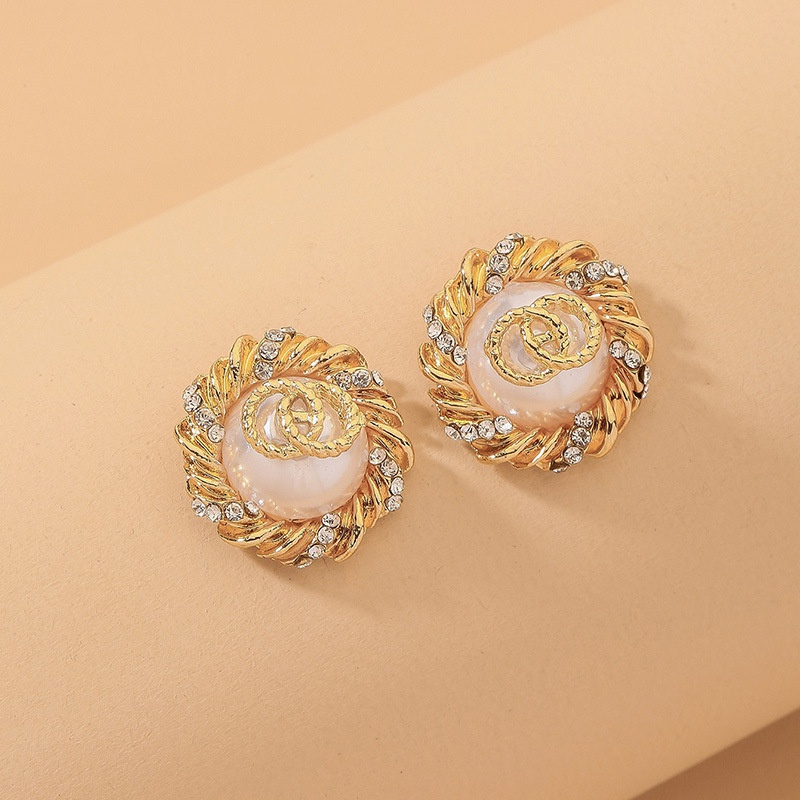 fashion circle pearl diamond earrings  NHNJ316567