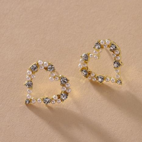 retro heart diamond pearl earrings  NHNJ316570's discount tags