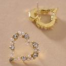 retro heart diamond pearl earrings  NHNJ316570
