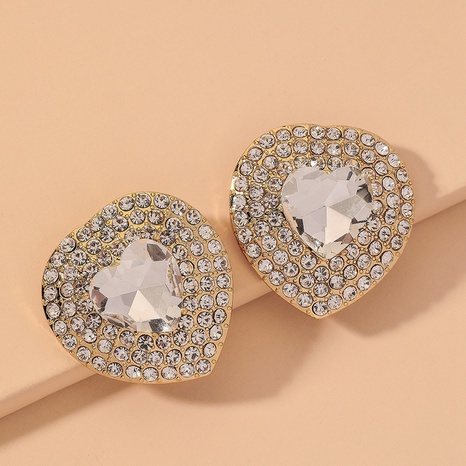 fashion full diamond big heart earrings  NHNJ316575's discount tags