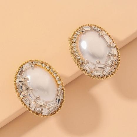 retro oval zircon pearl earrings NHNJ316576's discount tags