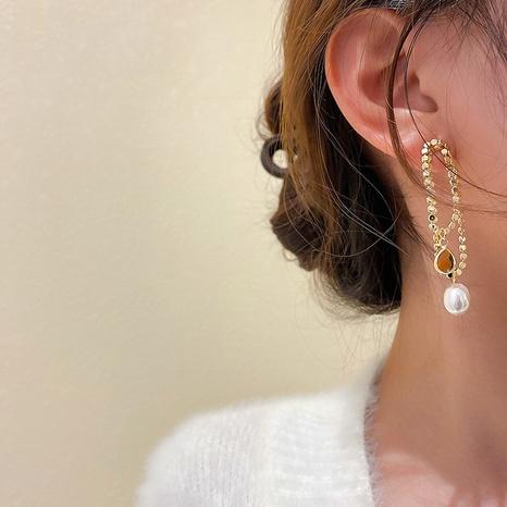 asymmetrische Retro-Ohrringe aus Perlkristallmode NHNJ316579's discount tags