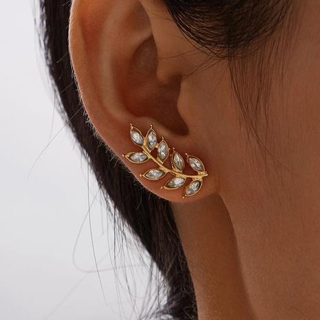 New full diamond leaf earrings  NHAJ316597's discount tags