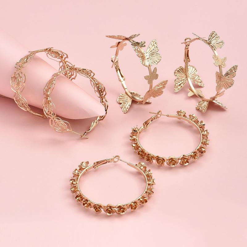 fashion simple butterfly rose earrings set NHAJ316595