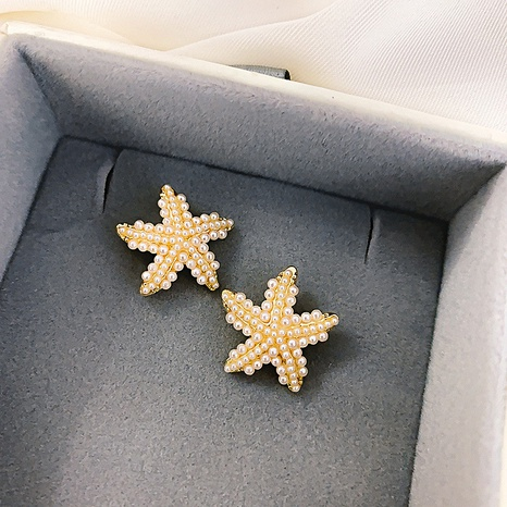 925 silver needle starfish pearl stud earrings  NHQC316589's discount tags