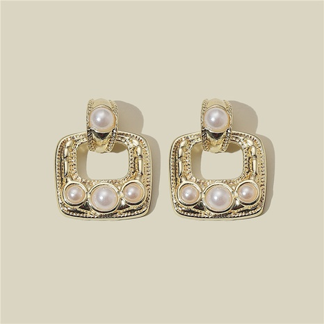 925 silver needle geometric square pearl earrings  NHQC316584's discount tags