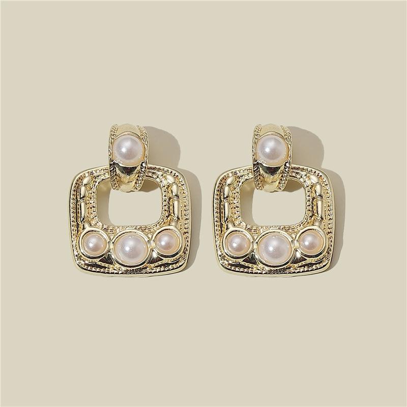925 silver needle geometric square pearl earrings  NHQC316584