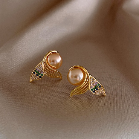 925 silver needle mermaid tail pearl earrings NHQC316585's discount tags