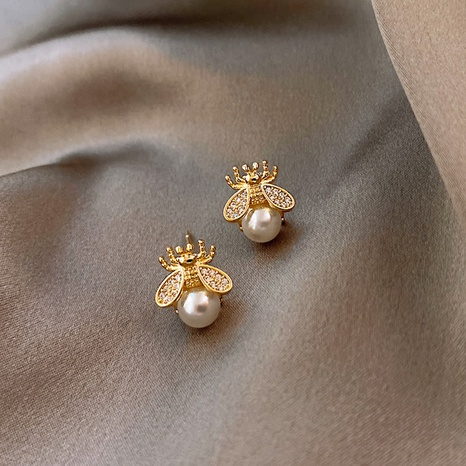 small bee pearl earrings  NHQC316593's discount tags