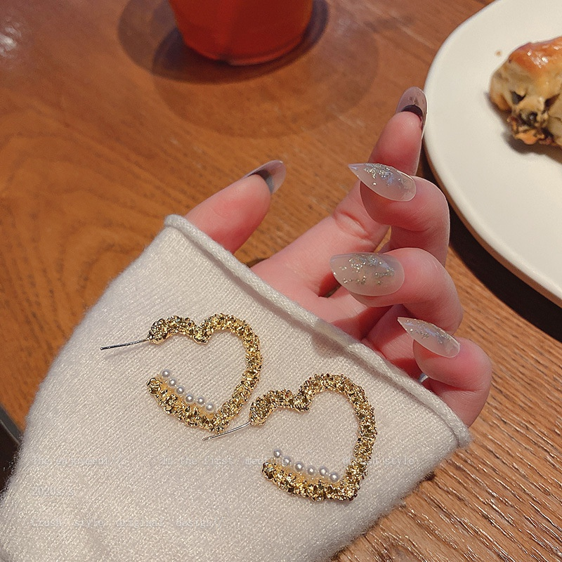 Korean heart pearl fashion earrings NHQC316592