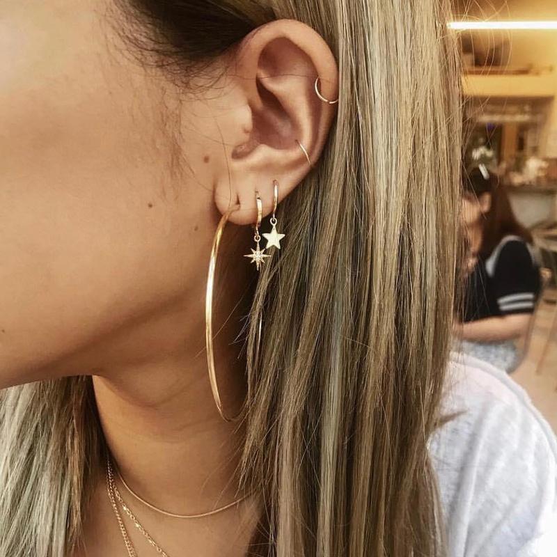 five-pointed star circle earrings set  NHAJ316606