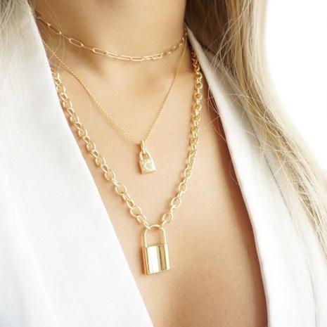 alloy metal lock pendant necklace NHAJ316607's discount tags