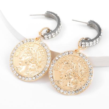 Porträtohrringe aus runder Legierung mit Diamanten NHJE316610's discount tags