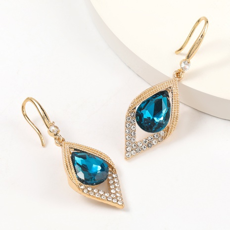 Tropfenförmige Glasohrringe aus Diamant aus Mode NHJE316612's discount tags
