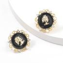round lace alloy portrait earrings NHJE316613