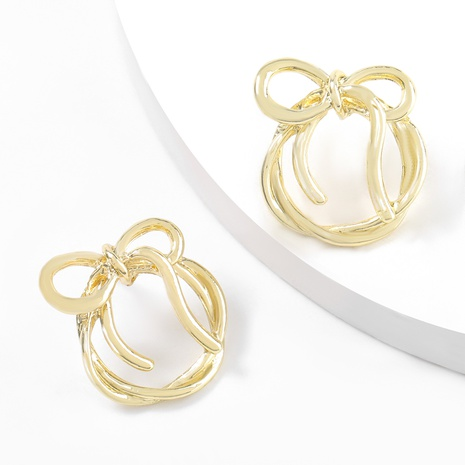 round bow alloy earrings NHJE316614's discount tags