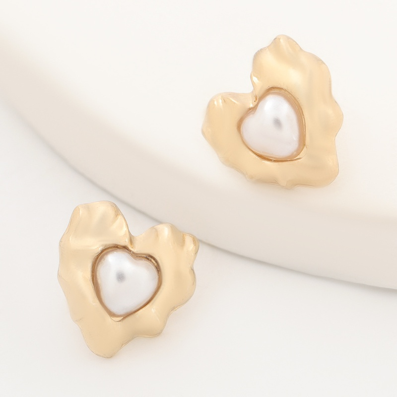 alloy pearl heart-shaped earrings  NHJE316615