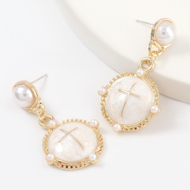 alloy drop inlaid pearl cross earrings NHJE316617