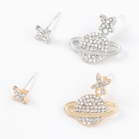 asymmetrische Ohrringe in Form eines Diamantplaneten aus Aluminium NHJE316620's discount tags