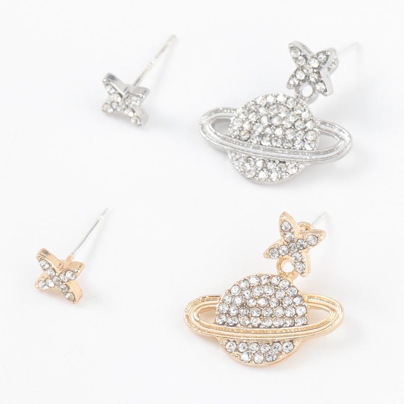 alloy diamond planet shape asymmetric earrings NHJE316620
