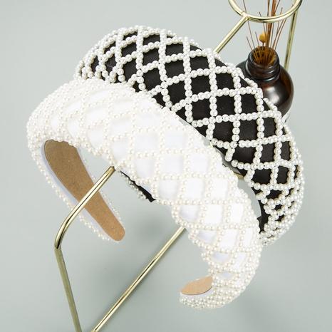Breitbandiges Stirnband aus koreanischem Perlenschwamm NHLN316621's discount tags
