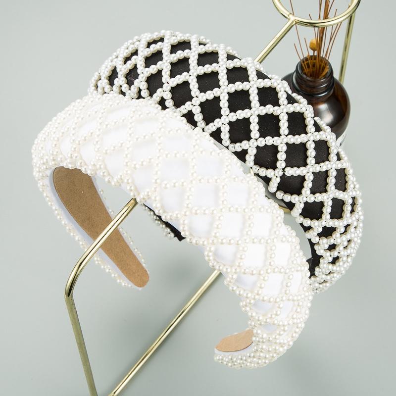 Korean mesh pearl sponge wideedge headband NHLN316621