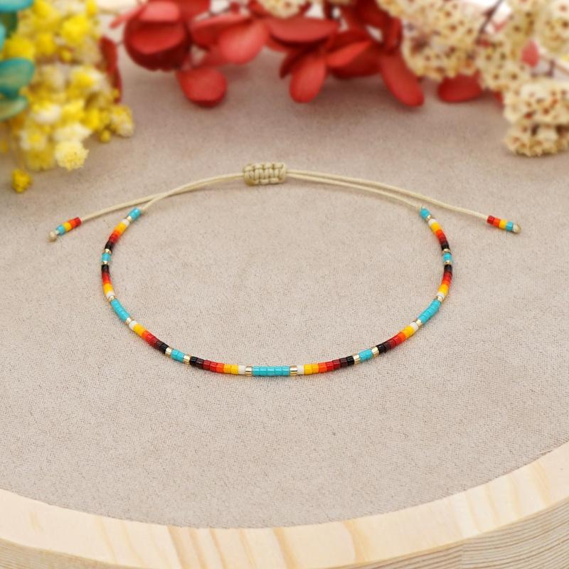 bohemian rainbow imported Miyuki rice beads bracelet NHGW316638