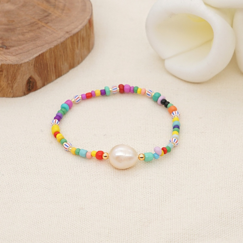 bohemian colored rice beads beaded baroque freshwater pearl bracelet NHGW316639