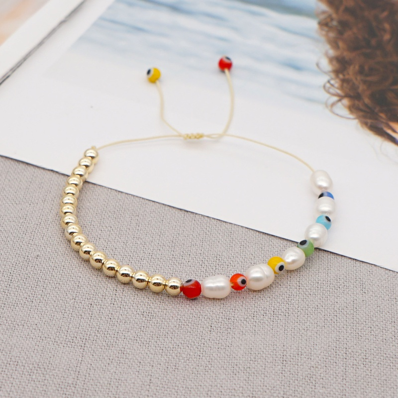 Creative fashion baroque pearl colorful glass eye beads bracelet NHGW316629