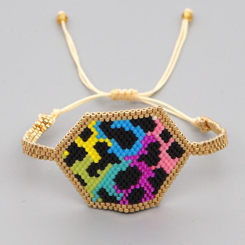 Fashion Graffiti Rainbow Leopard Diamond Bracelet NHGW316643