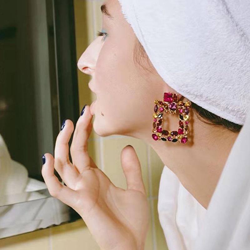 alloy rhinestone square earrings  NHJE316648