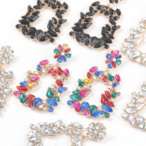 new alloy diamond-studded trapezoidal flower earrings NHJE316650's discount tags