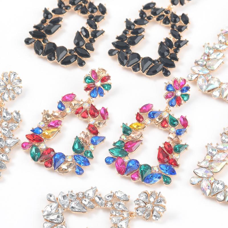 new alloy diamond-studded trapezoidal flower earrings NHJE316650