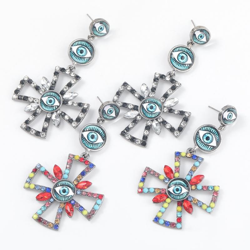 alloy resin eyes cross bohemian earrings NHJE316653