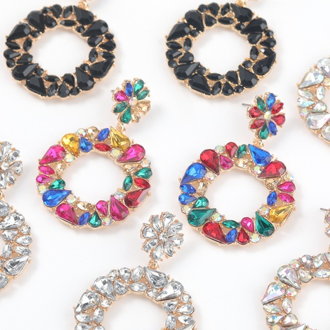 new alloy diamond-studded acrylic round flower earrings NHJE316654's discount tags