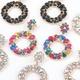 new alloy diamond-studded acrylic round flower earrings NHJE316654