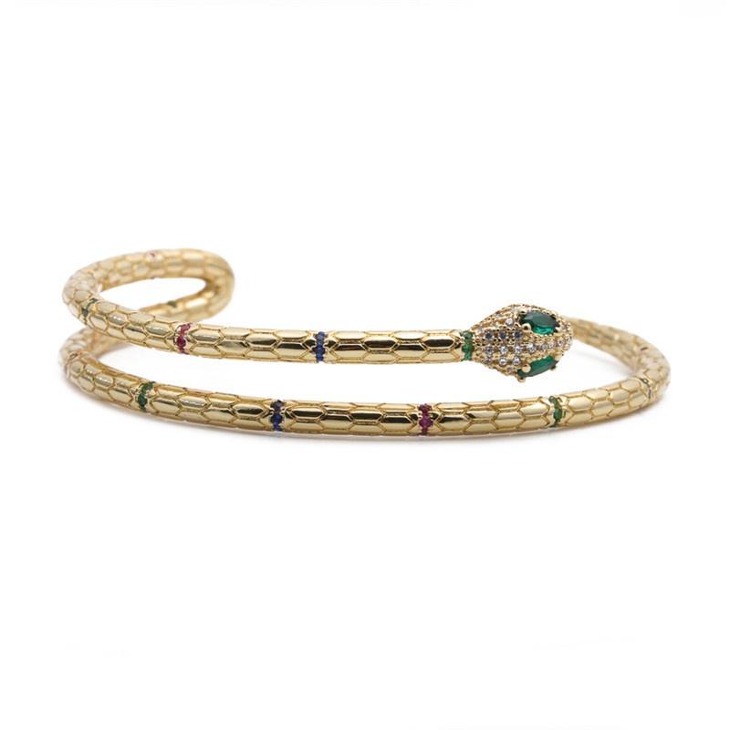 simple copper microinlaid zircon snake opening adjustable bracelet NHYL316663