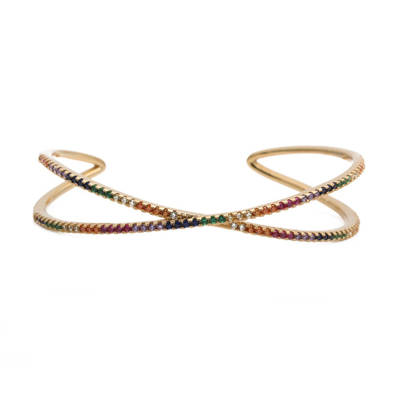 new multilayer color zirconium copper opening adjustable bracelet NHYL316667