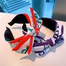 retro big bow printing headband NHHD316681