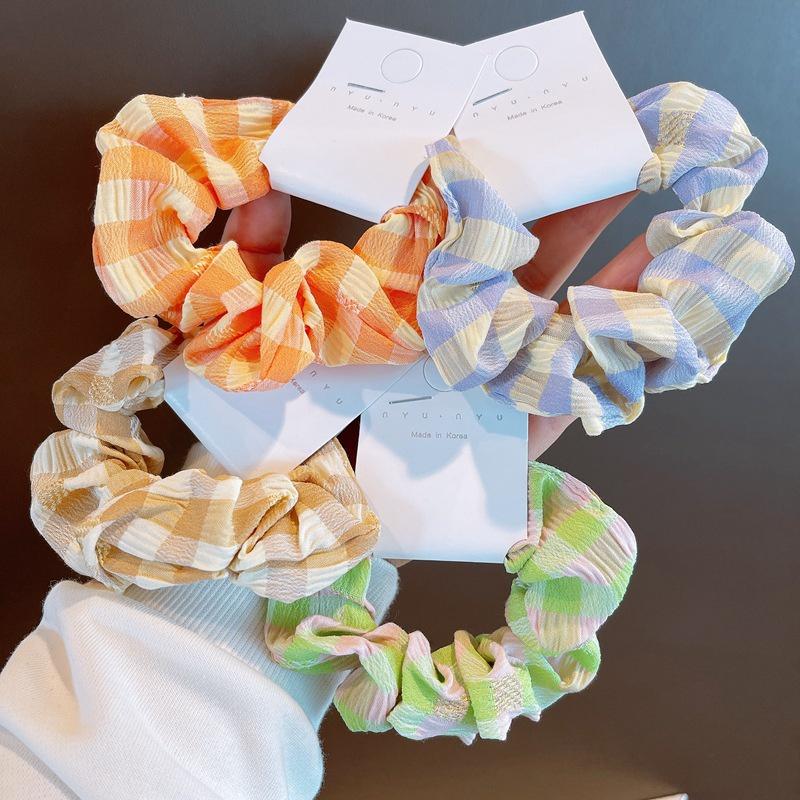 simple plaid hair scrunchies NHHD316684