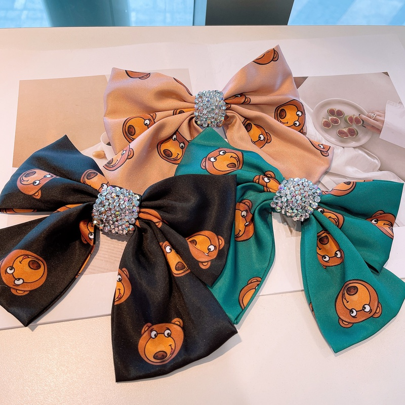 Korean cute bear print full diamond bow hairpin NHHD316679