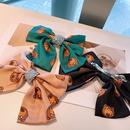 Korean cute bear print full diamond bow hairpin NHHD316679