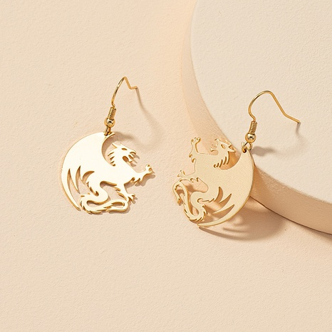 retro metal dragon earrings  NHGU316705's discount tags