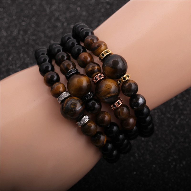 simple beaded tiger eye stone bright agate bracelet NHYL316707