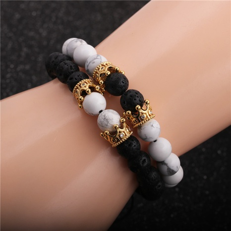 white pine volcanic stone crown braided bracelet NHYL316713's discount tags