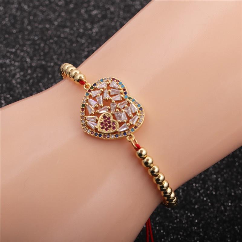simple microinlaid zircon love woven bracelet NHYL316714
