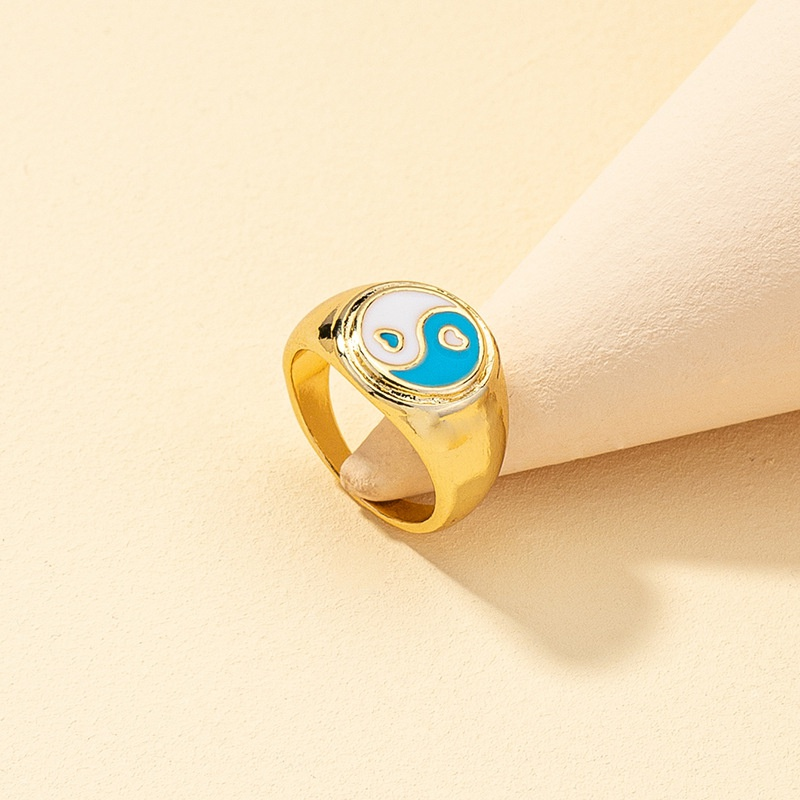 new Tai Chi multi-color dripping oil heart-shaped retro ring NHQJ316719